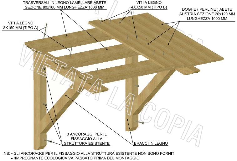 schema per costruire copertura in legno